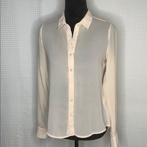 Olive & Oak Sheer Pink Button Down Long Sleeve Top